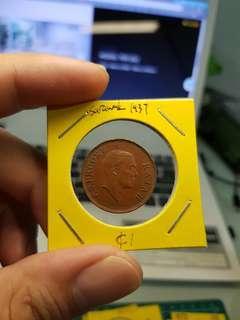 Sarawak 1937 one cent coin