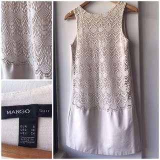 Mango suit beige lace shift dress