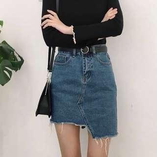 Uneven Length Denim Skirt