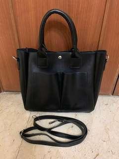 Black shoulder bag with crossbody and handbag