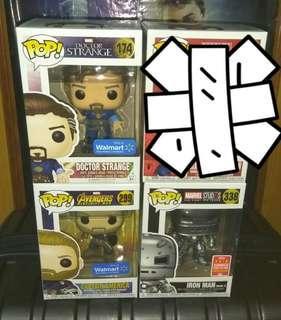 (ON HAND) Doctor Strange, Captain America, Iron Man Mark 1 Avengers Marvel Funko Pop Bundle