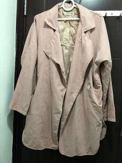 韓國製 pink Coat 🧥 jacket 粉紅色靚野 nude trench coat