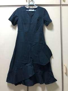 The Editor's Market - Navy Blue Midi Dress (M)