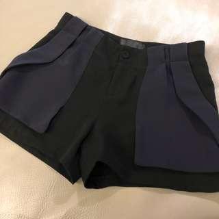 🚚 雪紡 短褲 褲裙 深藍色 黑色 拼接