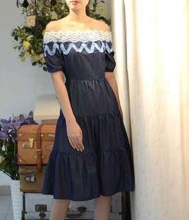 Off Shoulder denim cotton Dress