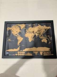 A3 deluxe scratch map with black wooden frame black and gold scratchmap