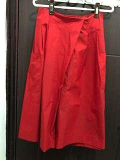 法國靚裙褲款 七分闊腳褲 紅色裙