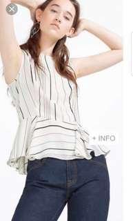 Zara Contrast Striped Peplum Top