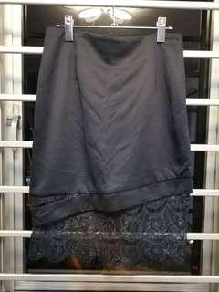 Midnight blue asymmetrical skirt with lace