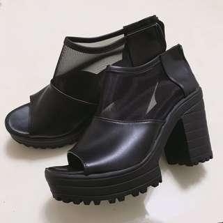 🚚 韓版粗根網紗 後拉鍊 黑涼鞋 增高 魚口鞋