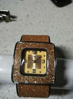 Strada fashion gold dust bangle watcg