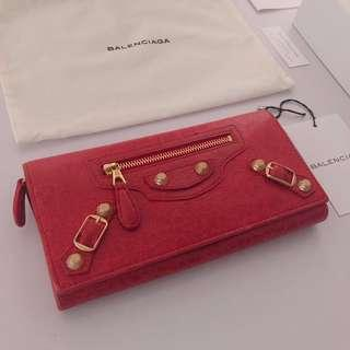Balenciaga Giant City Bi-Fold Wallet in Red with Gold Hardware
