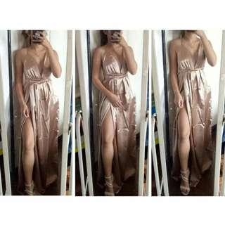 FOR RENT: Nude silk maxi dress gown