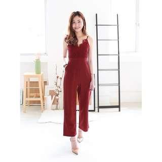 🚚 Wheres Cinderella Winfred Eyelash Lace Jumpsuit in Wine (Size S)