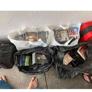bags of DVDs and VCDs