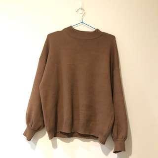 🚚 穿一次 韓國 原880 泡泡袖可可粽色毛衣