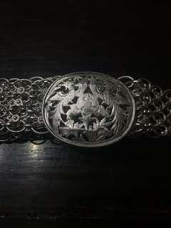 1930s Peranakan Silver Belt with Phoenix and Peony Motifs