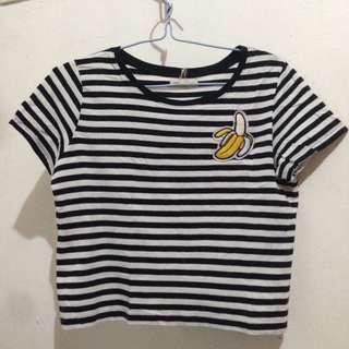 O'STIN STUDIO Strip Semi Croptop Shirt