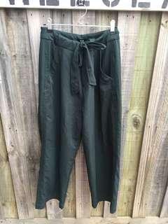 Dark green culottes with tie up belt