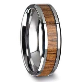 MEN STAINLESS STEEL WOOD RING SIZE 10