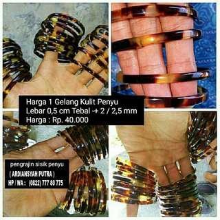 Gelang kulit penyu / gelang sisik penyu / gelang pendok / gelang kea lebar 0,5 cm