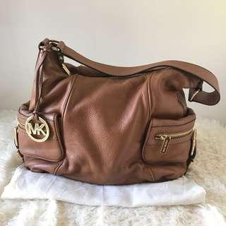 Michael Kors Genuine Leather Luggage Tan Hobo Shoulder Bag Satchel with Gold Hardware MK Bag Charm Authentic with Receipt