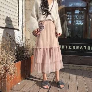 CloundNine Mesh Layered Midi Skirt
