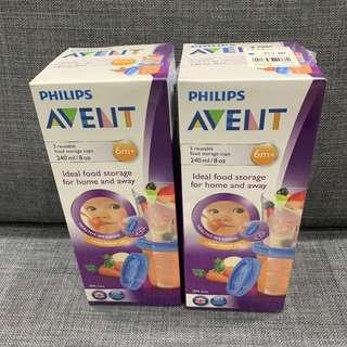 Philips Avent breastmilk / breast milk/ food storage cups containers 240ml x 10