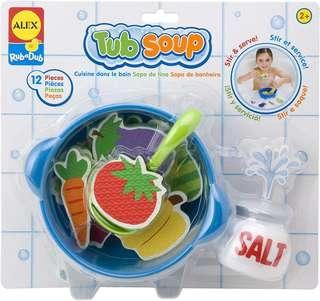 Ready Stock *Brand New* ALEX Toys Rub a Dub Tub Soup with Pot, Veggies Toy (Best Gift for Holiday, Preschoolers Birthday and Christmas) Bath Time