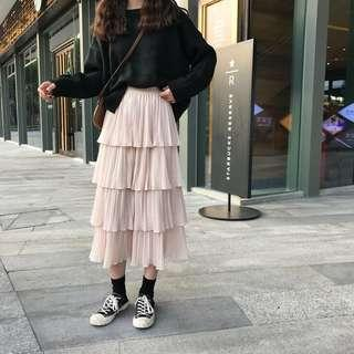 About a Girl Pleated Layered Maxi Skirt