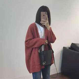 Women Red Knitted Coat