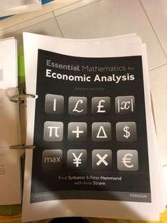 Essential Mathematics for Economic Analysis for EC2104