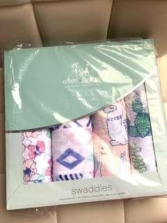 超靚罕見特別版💕aden+anais 草泥馬系列💝Swaddle(最後1盒現貨)包巾/包被/餵奶巾120x120cm