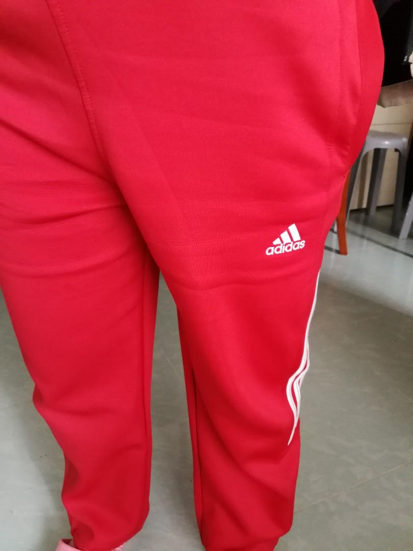 Adidas 紅色運動褲L碼