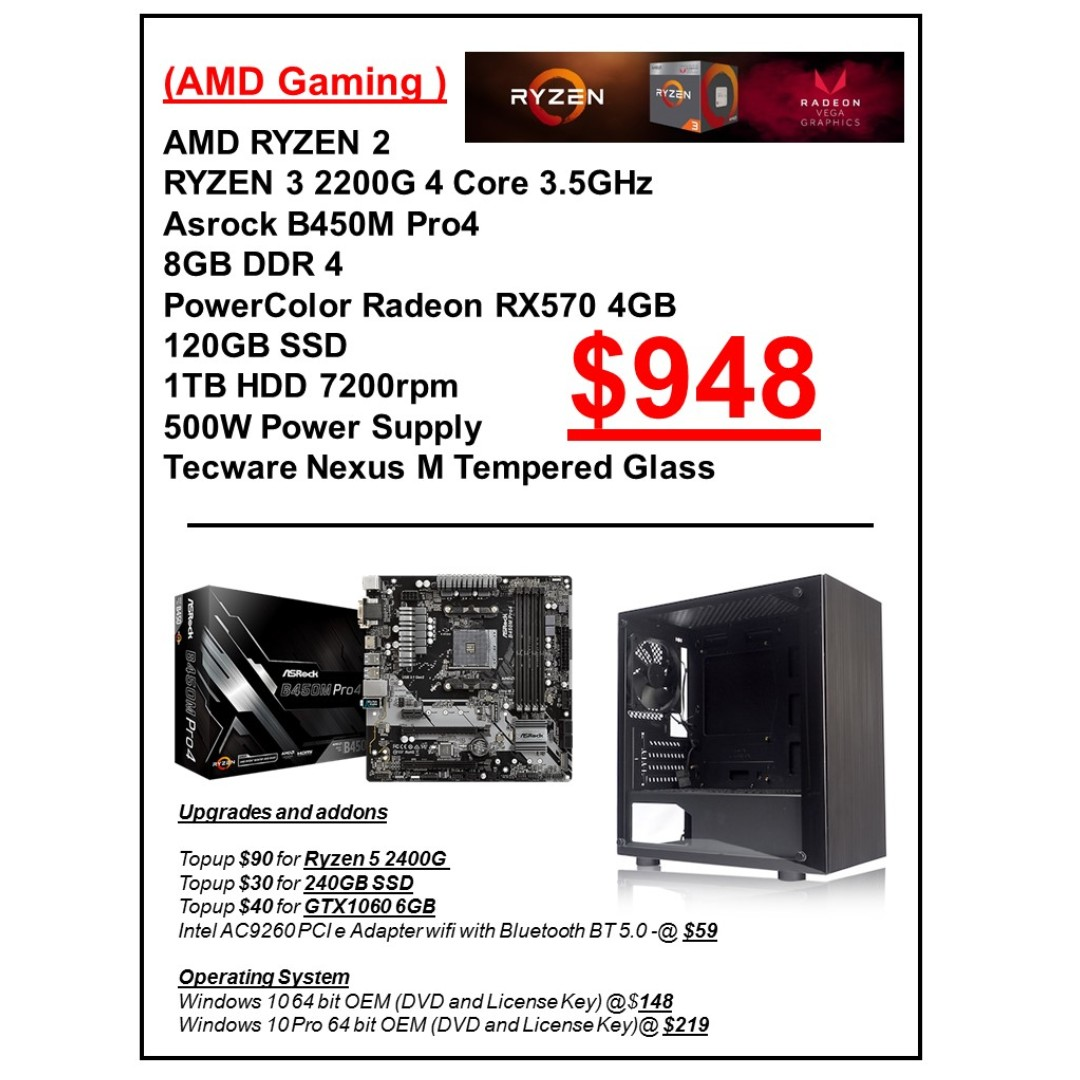 AMD RYZEN 3 2200G GAMING PC RIG with RX570 4GB CUSTOMISED CUSTOM BUILD PC  services service