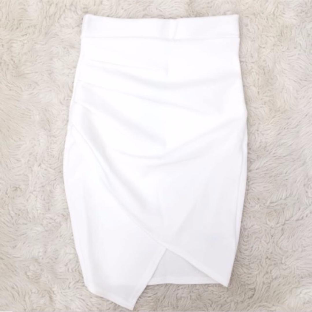 Boohoo White Asymmetric Skirt Size 4