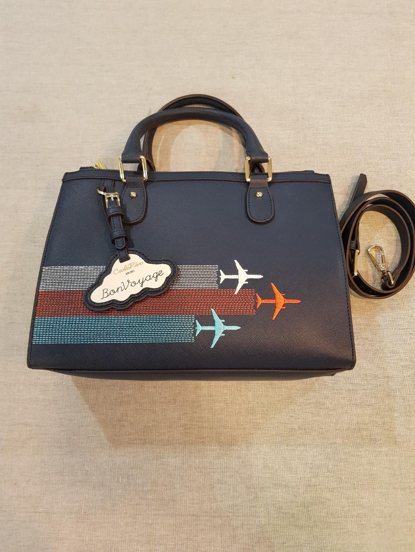 e42f85f2fc7dc Carlo Rino Saffiano Leather Airline Travel bag, Women's Fashion ...
