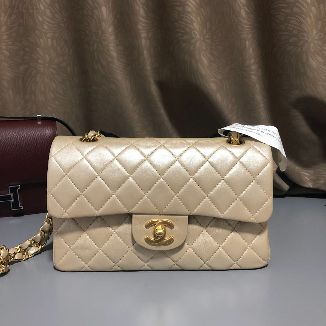 db9de2a4aebe5b Chanel Flap Bag in Small Pearly Gold, Luxury, Bags & Wallets ...