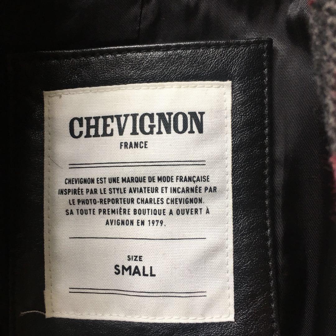 chevignon wool leather coat 皮袖羊絨大褸
