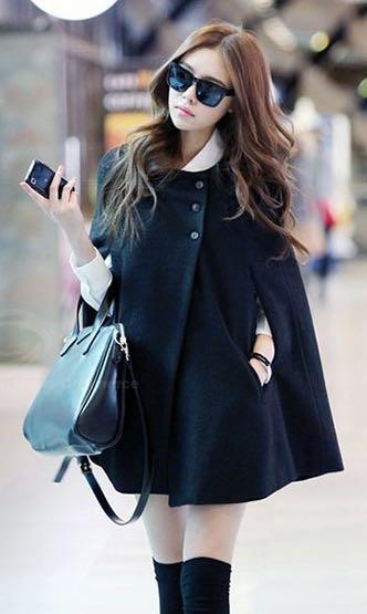 Classy Black Cape Coat