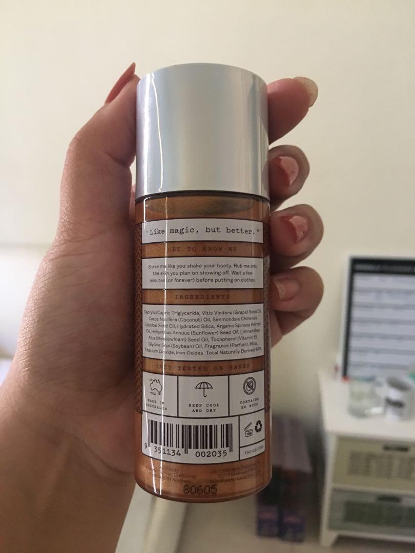 Frank body shimmer body oil