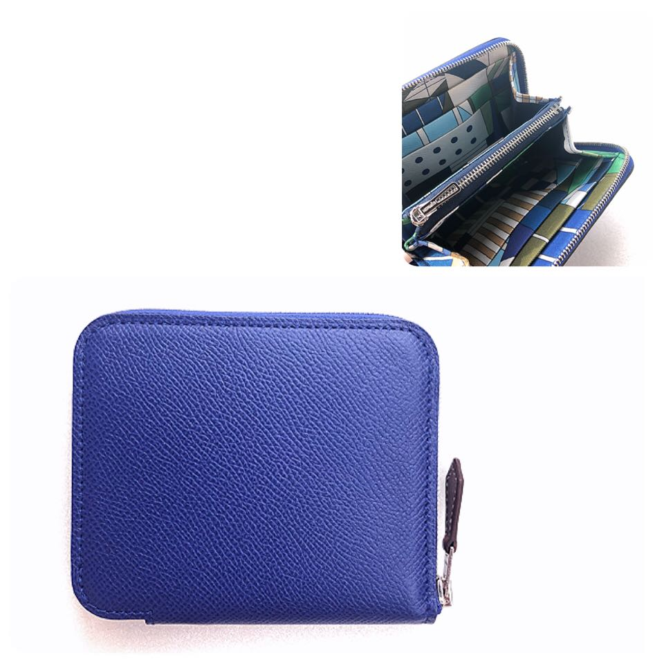 9795fff8cbb4 Hermes - Blue Electric Compact Silk In Wallet in Veau Epsom