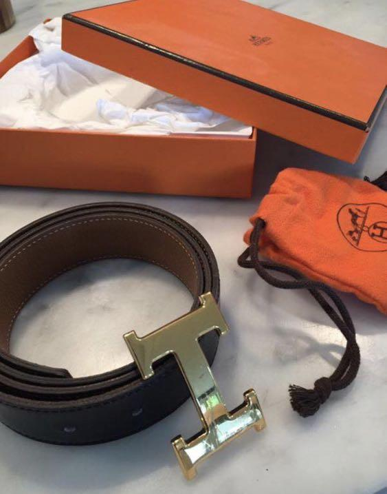 Hermes black and tan belt with buckle