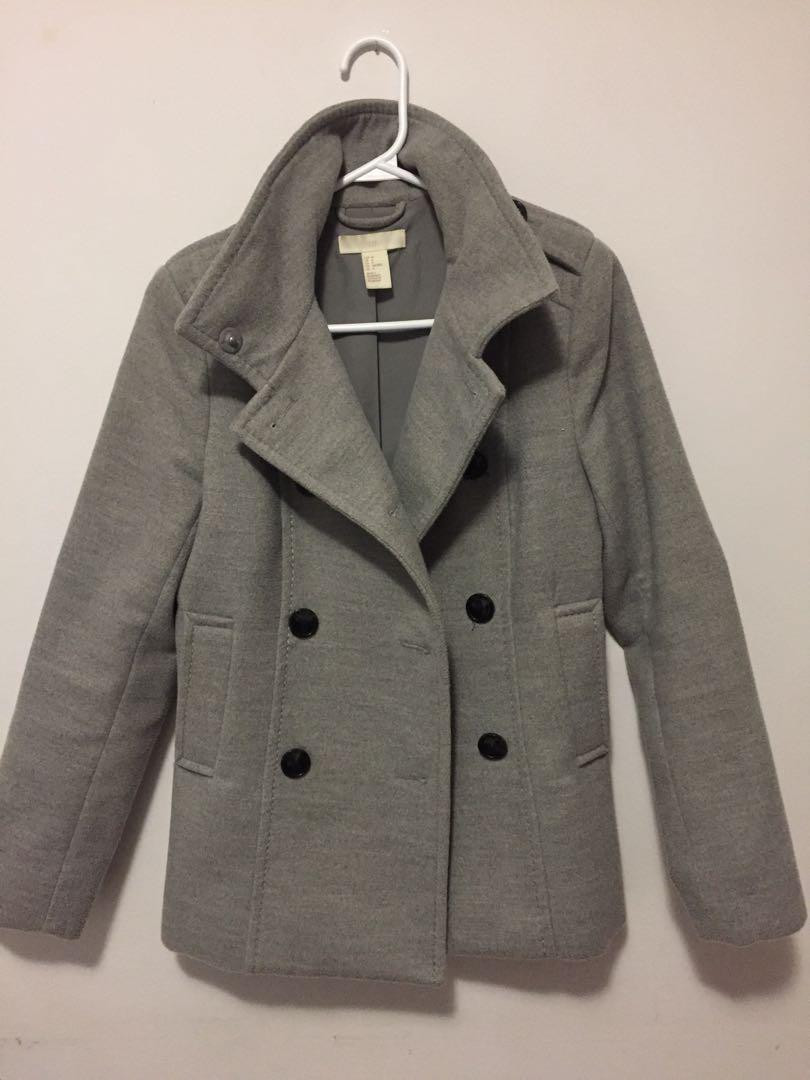 H&M Grey Double-breasted Coat
