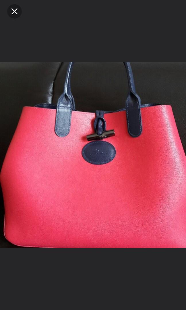 da0bca2de9b Longchamp Roseau Reversible Punk n Navy Blue tote bag, Luxury, Bags ...