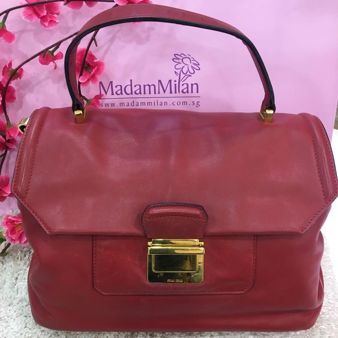 4e9484fe1416 Miu Miu Vitello Soft Top Handle Bag