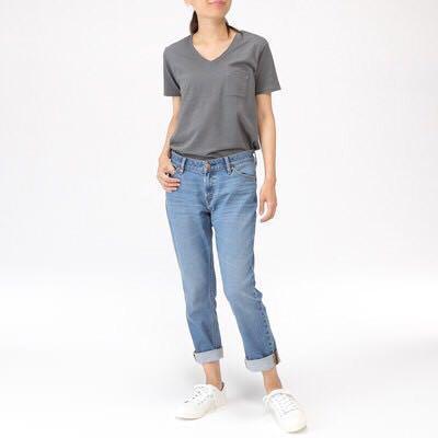 MUJI 無印良品 有機棉混彈性 丹寧boy fit褲 24吋(61cm) 藍色