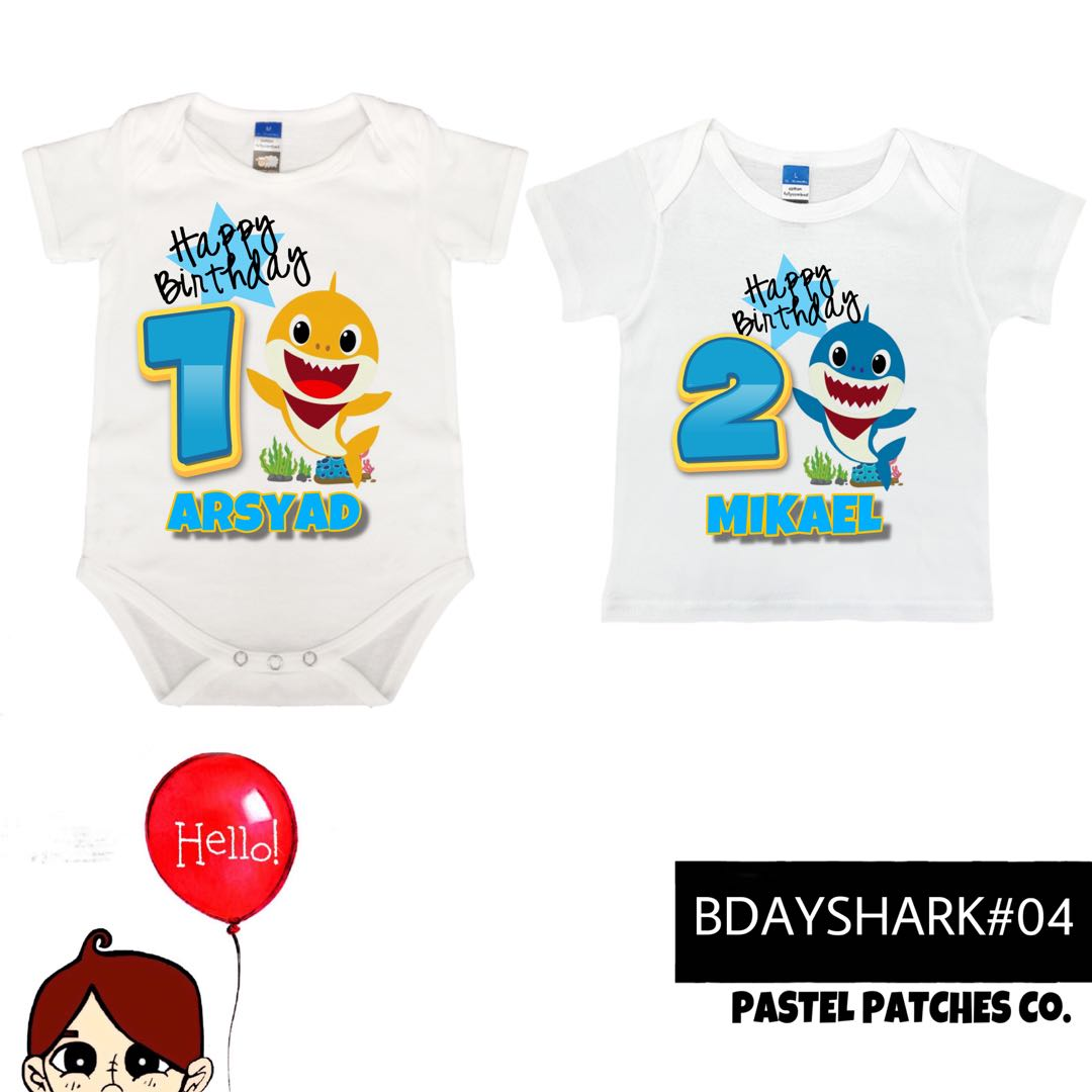Pinkfong Baby Shark Birthday Romper T Shirt With Name Babies Kids Apparel On Carousell