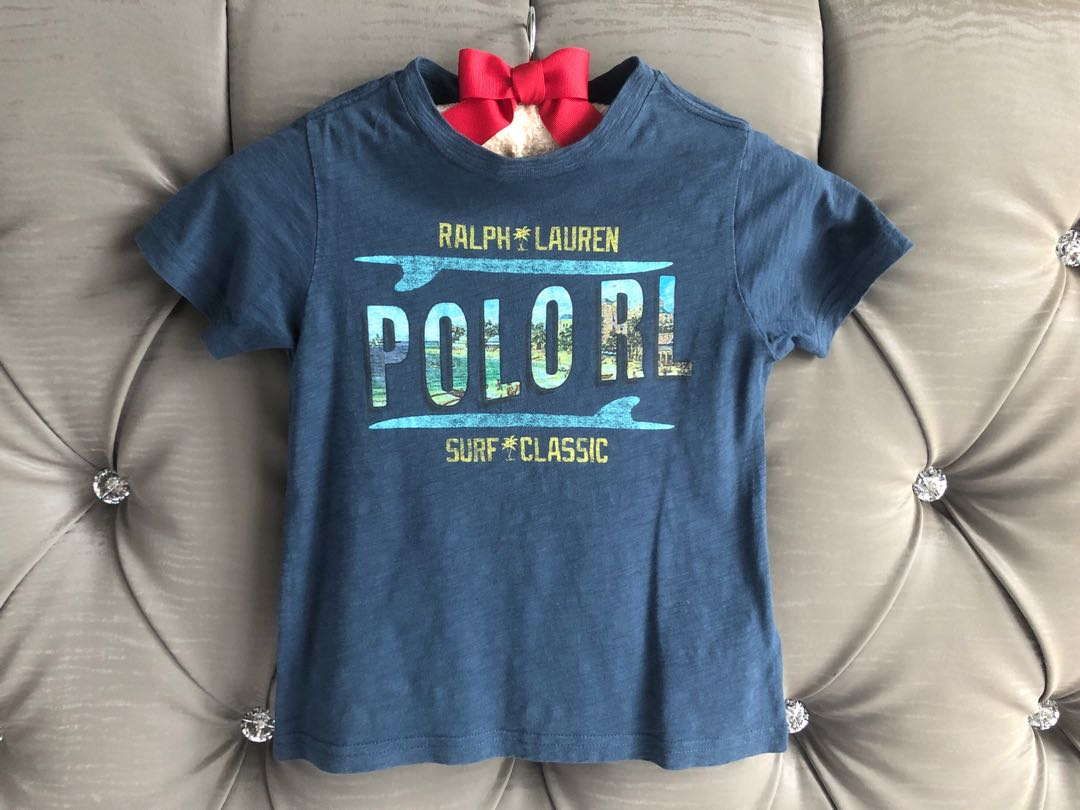 5d953ad86 Preloved Polo Ralph Lauren 3T Blue Graphic Cotton Tee Shirt for Kids ...