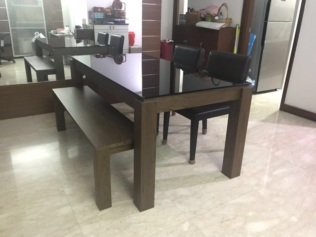 Price Reduced Wooden Dining Table With Free Chairs Furniture